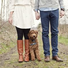 Beach engagement sesh with a super cute couple and their gorgeous Golden Doodle Mable.