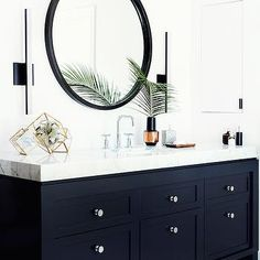 Black Washstand, Transitional, bathroom, Farrow and Ball Pitch Black, Consort Design