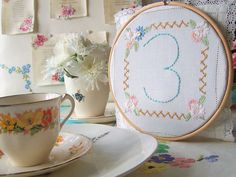 The vintage drawer collection from vicky trainor table numbers in hoop from £12.00
