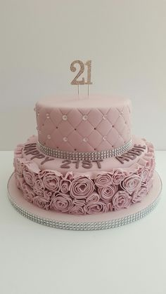 Glamorous, dusky pink, 21st birthday cake, covered in fondant ruffle roses, sparkly gems and diamanté ribbon. @cakescreatedbyruby
