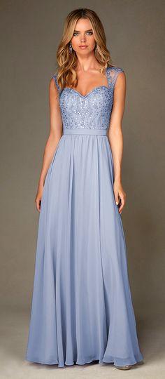 Gorgeous Chiffon Queen Anne Neckline Natural Waistline Floor-length A-line Bridesmaid Dresses