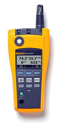 The Fluke 975 AirMeter test tool raises indoor air monitoring to the next level by combining five powerful tools in one, rugged and easy-to-use handheld device. Use the Fluke 975 to optimize HVAC ventilation settings for ASHRAE 62 recommendations, actively monitor conditions that promote a productive environment, and quickly and accurately address occupant comfort complaints the first time.