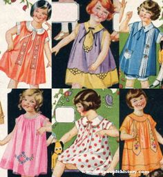 These frilly little girl dresses from the year 1925 are all of a similar shape but represent a different assortment of details. Some have embroidery while others feature cute neck ties and contrasting details like pockets. Some show off a floral pattern and another displays polka dots.