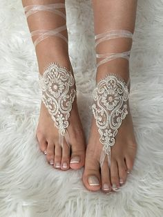 Tan ivory frame lariat barefoot sandals, french lace sandals, wedding anklet, Beach wedding barefoot sandals, beach shoes
