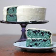 yummy blueberry velvet cake with cream cheese frosting… think blueberry muffin meets birthday cake!