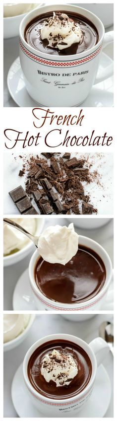 An easy recipe for dark hot chocolate that tastes just the kind served in Paris cafes! An easy recipe for dark hot chocolate that tastes just the kind served in Paris cafes! Just Desserts, Delicious Desserts, Yummy Food, French Desserts, French Sweets, Do It Yourself Food, Hot Chocolate Recipes, Chocolate Lovers, Chocolate Chocolate