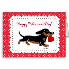 Dachshund Valentine Cartoon Greeting Card by Naomi Ochiai.  Black and tan smooth haired doxie cartoon.  #dachshund #valentine #greetingcard