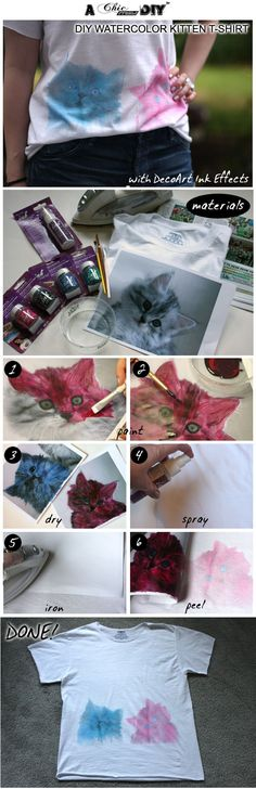 DIY Painted Kitten Tee: Easily Transfer Designs to Clothing with DecoArt Ink Effects