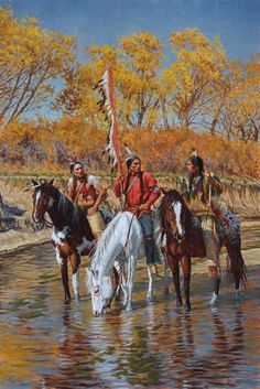 Brazos River Reconnoiter, a Native American giclee by James Ayers, depicts Comanche warriors on horseback in the Brazos River in Texas listening to a scout