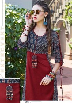 MIX AND MATCH OF BLOCK PRINTED COTTONS | RAYON SLUB DYED | HANDWORK ON OYKE | ATTACHED NECKLACE | FENCY WEAR OCCASSIONAL WEAR | Printed Kurti Designs, New Kurti Designs, Kurta Designs Women, Kurti Designs Party Wear, Dress Neck Designs, Stylish Dress Designs, Stylish Dresses, Blouse Designs, Fashion Dresses
