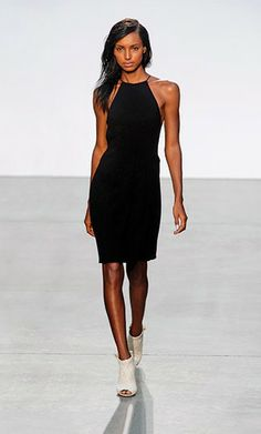 Modern Minimalism: Thakoon model, black dress, high neckline
