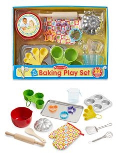 Let's Play House! Baking Play Set for Children: Promote creative play and imaginative thinking with these food-grade baking tools made of premium materials like stainless steel and solid wood, sized just right for little hands and play kitchens. Featuring an oven mitt, measuring cups, mixing bowl, and so much more, this is truly the ultimate play kitchen accessory set for kids! *How cute is this?