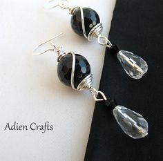 Black Gemstone Wire Wrapped Earrings with Quartz by adiencrafts