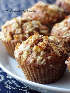 Kulinarne Spotkania: Cynamonowe muffinki z jabłkami i migdałami Cupcakes, Cupcake Cakes, Sweet Recipes, Cake Recipes, Dessert Drinks, Just Cooking, Pumpkin Cheesecake, Sweet Cakes, Healthy Desserts