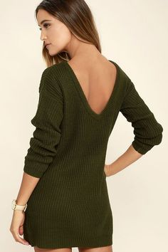 The Bringing Sexy Back Olive Green Backless Sweater Dress brings a little edge to those chilly days by the fire! A rounded neckline and long sleeves bring all your favorite sweater elements to this dress, with a relaxed shape and deep V-back.