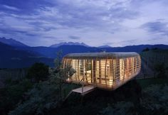 Fincube near Bozen, Italy. A sustainable modular home made entirely of local wood by Studio Aisslinger.