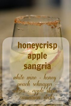 Honeycrisp Apple Sangria {Revisited} (A. Liz Adventures) This time last year I was almost three months pregnant, so honeycrisp apple sangria was off of… - Fresh Drinks Thanksgiving Cocktails, Holiday Drinks, Party Drinks, Summer Drinks, Fall Cocktails, Fall Drinks Alcohol, Fall Wedding Drinks, Christmas Drinks Alcohol, Sangria Recipes