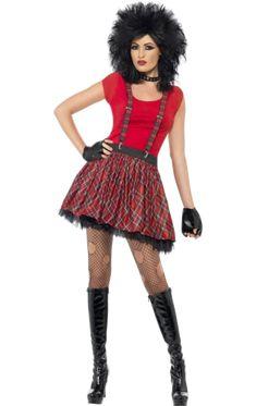 80/'s Street Punk Wig Multi Coloured Mohawk Unisex Fancy Dress Costume 1980s