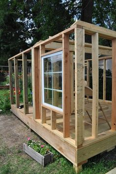 I have been waiting to share my custom built playhouse for the right time and the right time is now! Believe it or not, the playhouse was one of my first projects of this size. Most of my projects … Shed Design, House Design, Framing Construction, Garden Cabins, Casas Containers, Build A Playhouse, Diy Shed Plans, Backyard Sheds, Tiny House Cabin