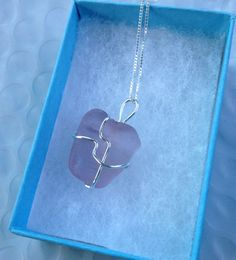 Lavender Seaglass Sterling Necklace on Etsy, $30.00