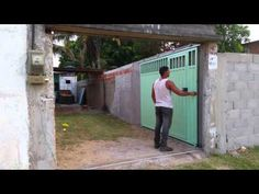 Front Gate Design, Door Gate Design, House Gate Design, Sliding Door Design, Sliding Doors, Garage Doors, Driveway Entrance, Entrance Gates, Sliding Gate Opener