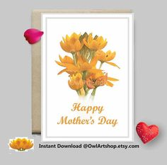 Mothers Day card Water color flowers orange & yellow floral