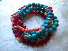 Turquoise, Pink Coral & Carnelian Stack by Ravishing Jewelry
