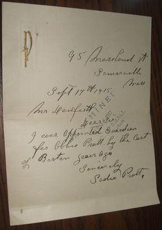 915 Sadie Pratt Letter Abbie Pratt Somerville MA Probate Court Genealogy