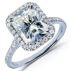 Vintage Halo Radiant Cut Moissanite & Diamond Engagement Ring 3.00 Carat T.W. Handcrafted in 14K White Gold