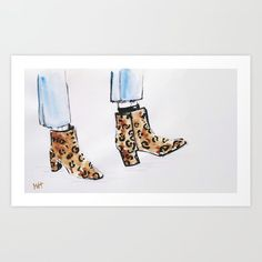 Leopard Boots Art Print By Martadehojas - Boots Print Out Picture Snake Print Boots, Leopard Print Boots, Canvas Prints, Art Prints, Leopards, Print And Cut, Cool Pictures, Stuff To Buy, Shop
