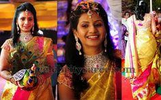 Bride in Shimmer Gold Silk Saree | Saree Blouse Patterns