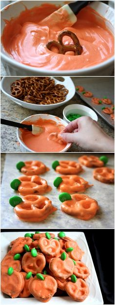 EASY PUMPKIN PRETZELS. I've done this a different way for a different holiday, but these look WAY easier!!!