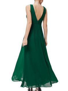 Stylish Pleated V Neck Maxi-dress