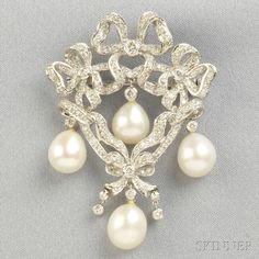 18kt White Gold, Cultured Pearl, and Diamond Pendant/Brooch, of ribbon and bow form, set throughout with full-cut diamonds, and suspending pearls, 12.1 dwt, lg. 2 in.