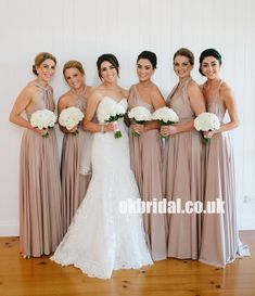 A-Line Different Styles Bridesmaid Dress, Cheap Floor-Length Convertible Bridesmaid Dress, Bridesmaid Dresses taupe bridesmaid dresses Blush Bridesmaid Dresses Long, Beige Bridesmaids, Different Bridesmaid Dresses, Bridesmaid Dress Colors, Wedding Bridesmaids, Bridal Dresses, Flower Girl Dresses, Wedding Gowns, Infinity Dress Bridesmaid