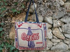 Sac cabas en toile de jute de sac de riz // sac de cours // sac de courses // tote bag toile de jute