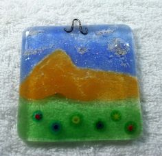 Cremation Sun Catcher Mountain Scene with Loved One or Pet Ashes fused into the sky to appear as clouds by addicted2glassfusion.artfire.com