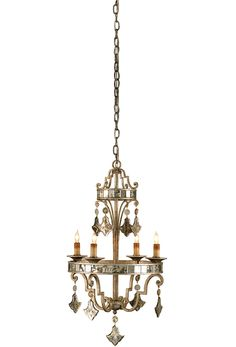 Harlow Silver Leaf Chandelier With Wrought Ironby Currey