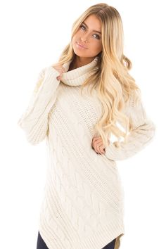 Lime Lush Boutique - Ivory Cable Knit Turtleneck Sweater , $48.99 (https://www.limelush.com/ivory-cable-knit-turtleneck-sweater/)