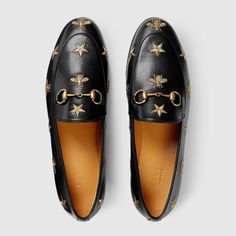 Shop the Gucci Jordaan embroidered leather loafer by Gucci. The Gucci Jordaan loafer is a key silhouette that spans across seasons. The classic shape is enriched with gold thread embroidered bees and stars. Source by shoes Black Flats Shoes, Black Leather Loafers, Loafer Shoes, Loafers Men, Bit Loafers, Gucci Loafers Women, Gold Flats, White Leather, Real Leather