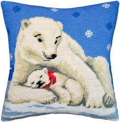 White Bear Mom With Cub pillowcase cross stitch DIY embroidery kit