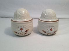 White and Brown Flower Salt and Pepper Shakers by TheCharmingAttic, $6.00