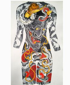 "life sized painting of a female back concept -Hannya, snake and rats 26x40"" silk dye on paper #rebelreprints #camsupply"