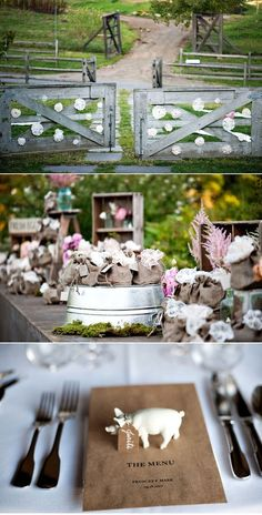Country-chic wedding reception (love the escort cards)