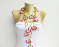 Collar-grano trabajo joyería/ganchillo collar de ganchillo / crochet collar / con granos