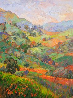 Wildflower covered hills in Paso Robles, painted in impressionist style by Erin Hanson