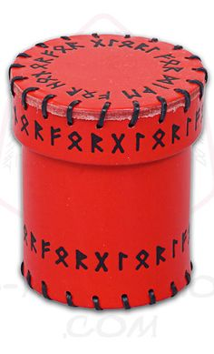 Red Runic Leather Dice Cup, by Q-Workshop, other colors and styles are available - $24