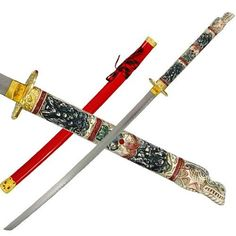 Highlander 1st Generation Dragon Katana w/ Multi-Color Handle by Highlander. $29.95. This piece is recognized by sword collectors from all over the world. This sword features a synthetic dragon head handle with hand painted details, accented by a brass-plated guard. Includes a Red high gloss wooden scabbard with brass plated end cap. 26 in. blade, 38 1/2 in. overall.