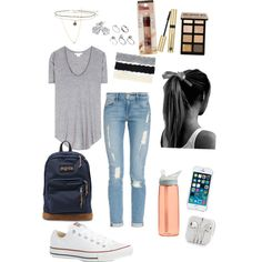 Back to school plain shirt light distressed jeans and sneakers seems like a plan