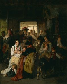 Ludwig Knaus (German, 1829-1910). The Baptism, ca. 1850. Oil on canvas. 443/4 x 357/8 in. Charles and Emma Frye Collection, 1952.084